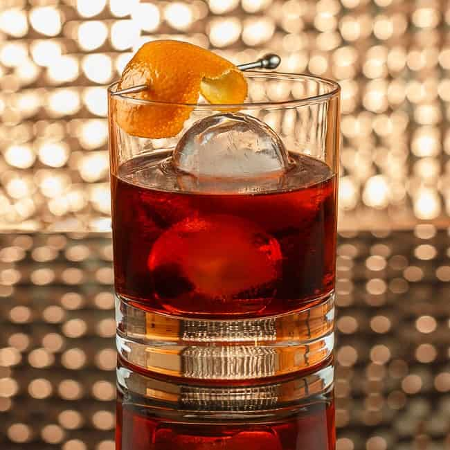 Negroni with ball ice