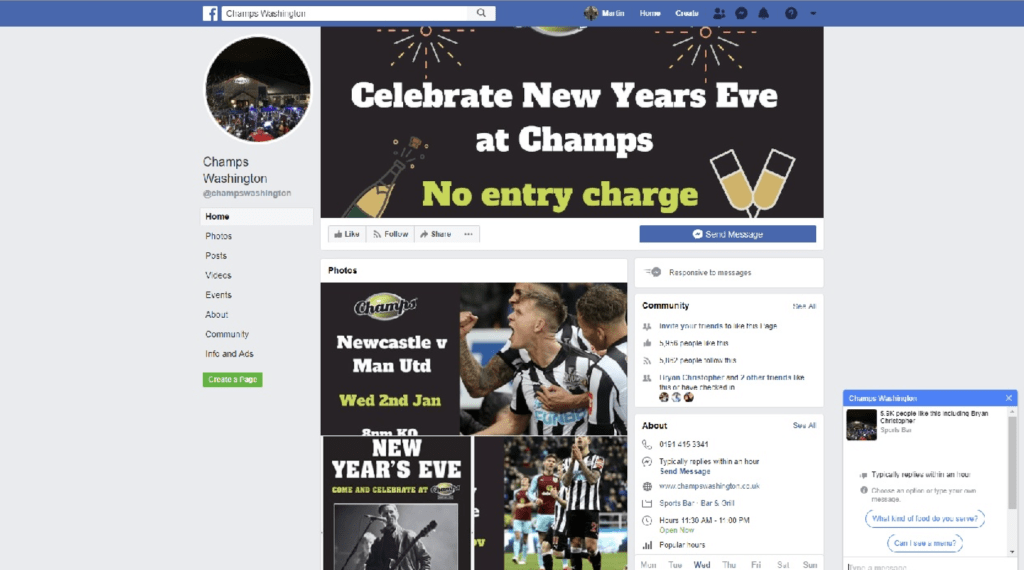 Champs, Washington Facebook Screenshot